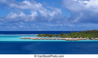 Bora Bora Lagoon - Time Lapse Clouds over Bora Bora Lagoon,...