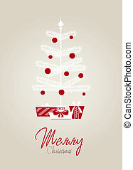 Christmas card - Vector christmas card with white tree and...