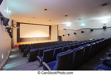 Cinema interior, empty seats, modern design