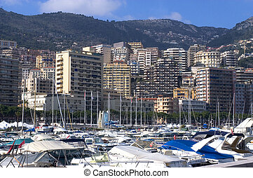 Landscape of Monaco of night in the small hour