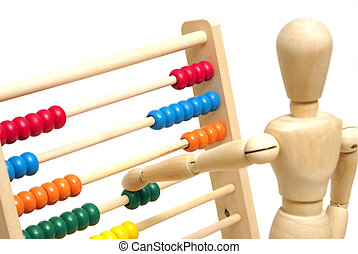 Using an Abacus - A mannequin positions a few beads on the...