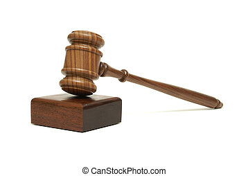 Gavel - An isolated walnut wood gavel with sounding block.