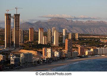 Highrise buildings in the Mediterranean city Benidorm, Spain