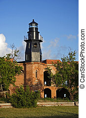 Garden Key Lighthouse at Fort Jefferson, Dry Tortugas,...