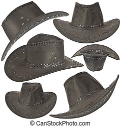 Conjunto, de, negro, vaquero, sombrero