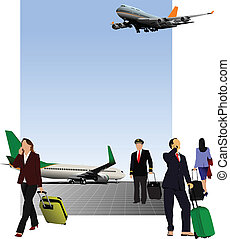 Airport scene Vector illustration for designers