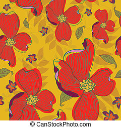 Seamless Red Flowers Pattern - This is a resizable seamless...