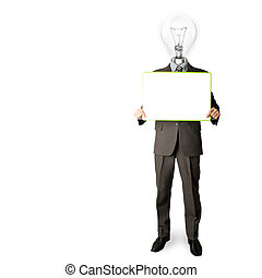 happy businessman with lamp-head holding card - happy...