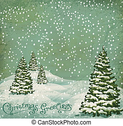 vintage postcard with Christmas trees, snow