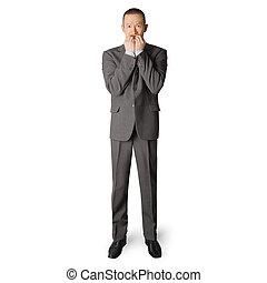scared businessman - scared asian businessman in suit, bite...