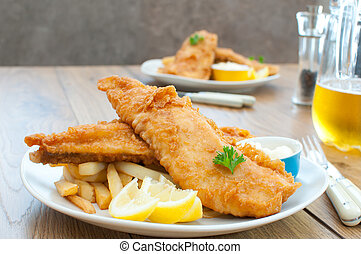 Fish and chips  - Fried fish fillets with chips