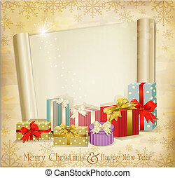 vector vintage holiday invitation with many gifts and scroll