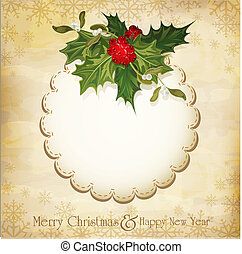 vector vintage christmas background with sprig of European...