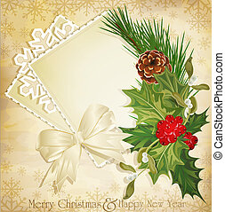 vintage christmas background with sprig of European holly