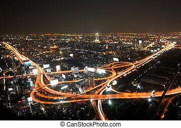 Bangkok Highway - aerial view of Bangkok Highway at downtown