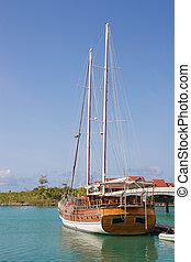 Sailing shipvessel - Sailing ship vessel , with blue sky...