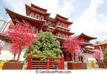 singapur, Buddha, diente, reliquia, templo