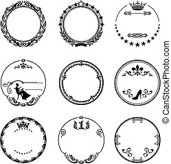 Round frame with ornaments - round ornaments with design...