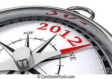 new year 2012 concept compass - new year 2012 indicated by...
