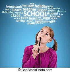 Schoolgirl thinking about school - Schoolgirl with pen,...