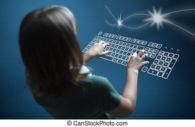 Girl typing on virtual keyboard - Back view of a teenager...