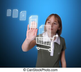 Girl buying multimedia items online - Teenager girl puts...
