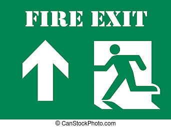 Fire Exit Symbol with Text