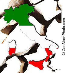 Italy - The broken land of Italy in national colors