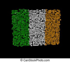 Irish flag on blocks illustration