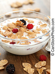 Muesli with blueberry and raspberry