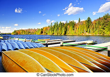 Canoe rental on autumn lake - Canoes for rent on fall lake...