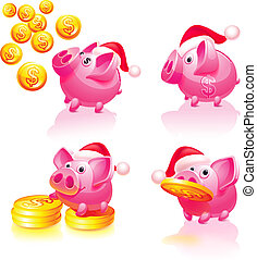 Set icons - Christmas & Happy New Years, Piggy bank with...