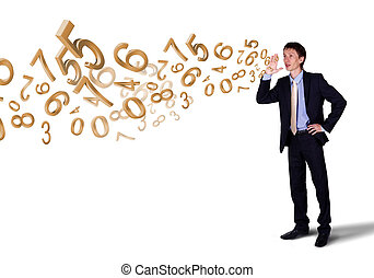 Business man shouting with numbers and symbols - Business...