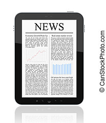 News On Tablet PC - Business news on Tablet PC Isolated on...