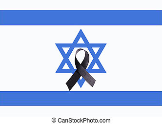 mourning band - A mourning band on a flag of Israel