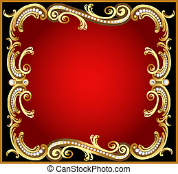 decorative frame with pattern gold pearl - illustration...