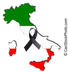 Italy - The land of Italy in national colors and a mourning...