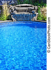 Swimming pool with waterfall - Outdoor inground residential...