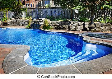 natación, piscina, cascada