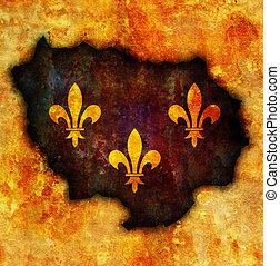 mapa,  De,  Ile, bandera, francia