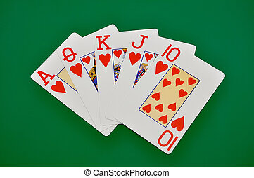 Royal Flush on a green background