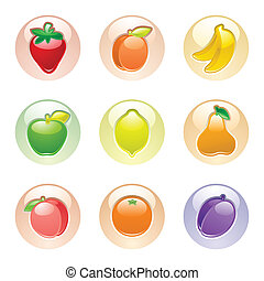 Fruits button gray, web 2.0 icons. Can be used to design a...