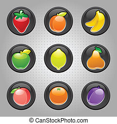 Fruits button black, web 20 icons, vector