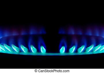 Natural gas burner blue flames