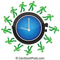 people running around the clock - group of people running...