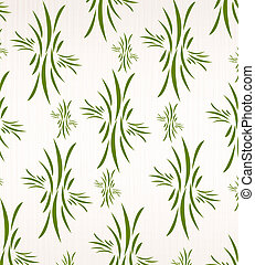 Floral wallpaper on white fabric - Background with grass on...