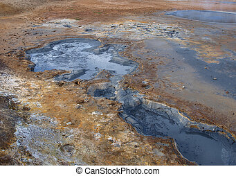 geo-thermal area in Iceland - boiling mud