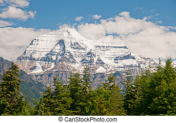 Mount Robson - Closeup shot of Mount Robson in summer.