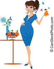 Smiling pregnant woman with pear