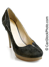 Suede women shoe on a white background